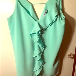Mint green chiffon tank blouse with ruffle NWOT